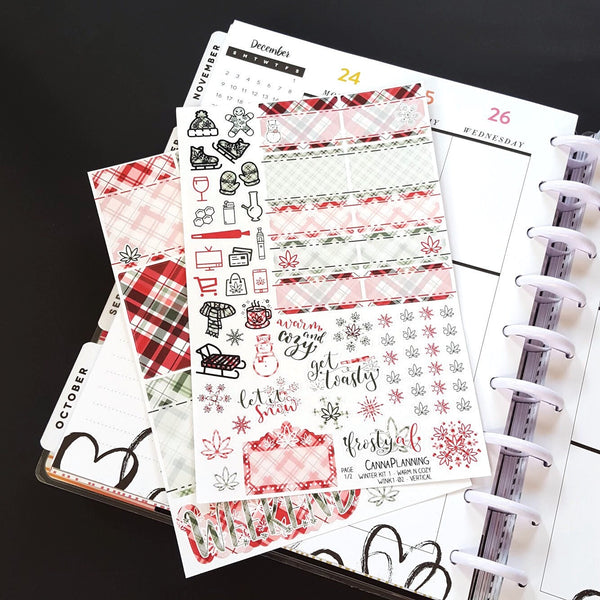 WARM N COZY - Red & Green Plaid Marijuana Winter Sticker Kit - base 2-page kit