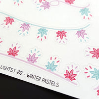 Pot Leaf Holiday Lights Stickers