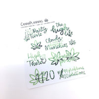 4/20 Marijuana Hand-lettered stickers - CannaPlanning  - 4/20, Deco, Hand Lettering, Holiday, Seasonal, Sparkle, Spring, Stickers, Watercolor