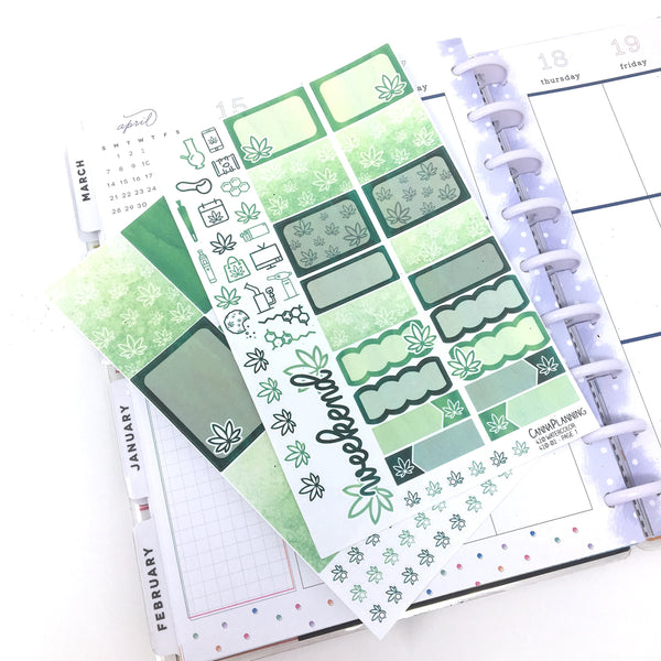 Watercolor 4/20 Marijuana Sticker Kit