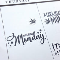 """Marijuana Monday"" Hand-Lettered Weed Cannabis Stickers"