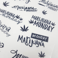 "CLEAR ""Marijuana Monday"" Hand-Lettered stickers - CannaPlanning  - clear, Clear Stickers, Hand Lettering, Non-Holiday, Stickers"