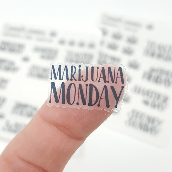 CLEAR WeedDays Style 2 Day of the Week Stickers