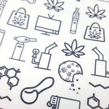 CLEAR Marijuana Icons Mix Sampler 1 - CannaPlanning  - CBD, clear, Clear Stickers, Dab, Deco, Edibles, Icons, Joint, Molecule, Non-Holiday, Stickers, THC, Vape, Wax