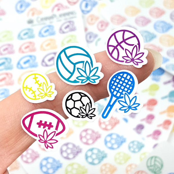 Marijuana Sports Stickers, Basketball, Baseball, Volleyball, Football, Soccer, Tennis, Marijuana Design, 420 Planner, Cannabis Art, Weed