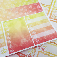 Red, Orange, & Yellow Watercolor Marijuana Sticker Kit