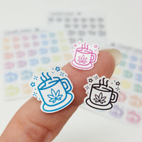 Pot Leaf Coffee and Tea Mug Stickers
