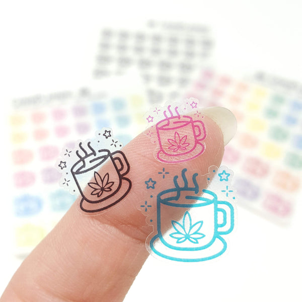 CLEAR Pot Leaf Coffee and Tea Mug stickers - CannaPlanning  - clear, Clear Stickers, Coffee, Icons, Stickers
