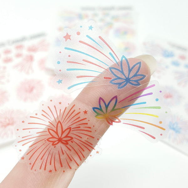 Clear Marijuana Leaf Fireworks Stickers