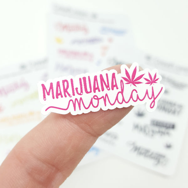 """Marijuana Monday"" Hand-Lettered Weed Cannabis Stickers - CannaPlanning  - Hand Lettering, Non-Holiday, Stickers"