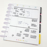 CLEAR WeedDays Style 2 Day of the Week Stickers - CannaPlanning  - clear, Clear Stickers, Date Covers, Hand Lettering, Hobonichi, Mini, Non-Holiday, Stickers