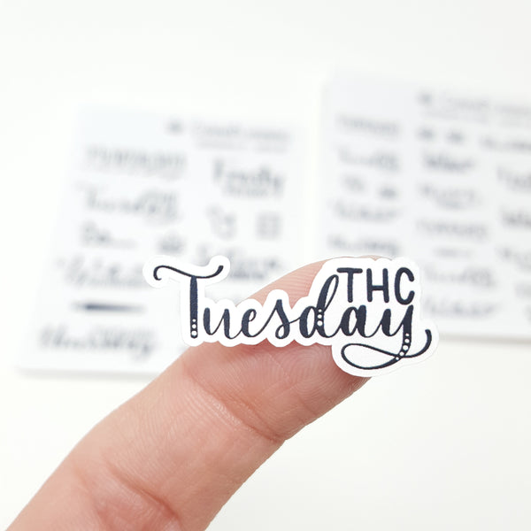 WeedDays Style 3 Hand-Lettered Day of the Week Stickers