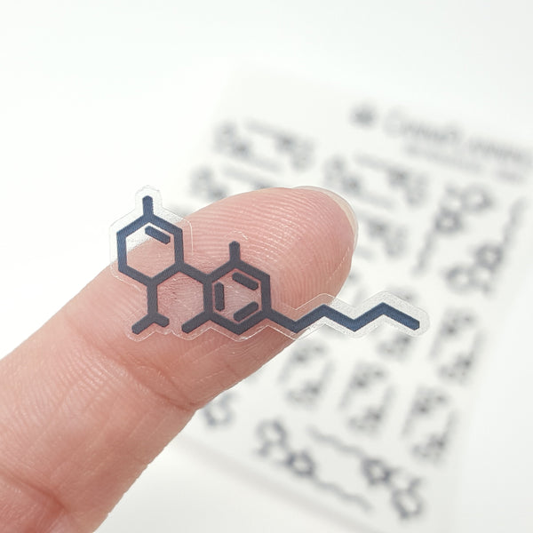Clear CBD Molecule Stickers - CannaPlanning  - CBD, clear, Clear Stickers, Icons, Molecule, Stickers