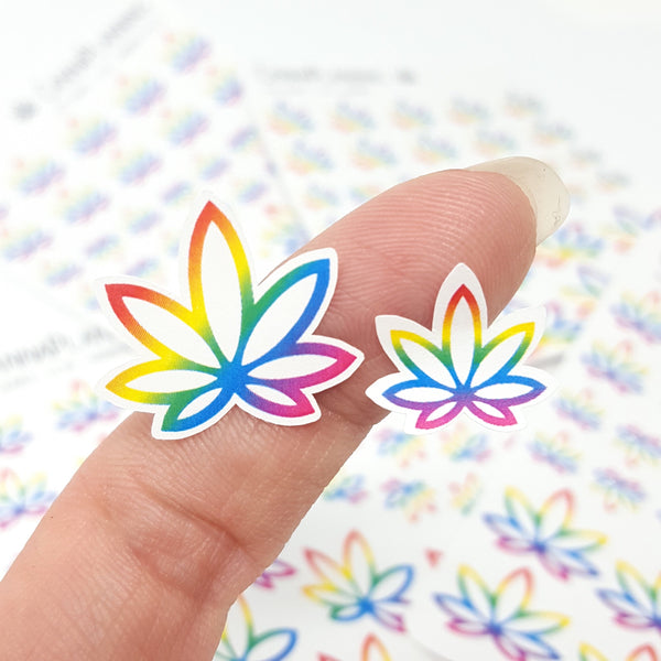 Rainbow Pride Pot Leaf Stickers
