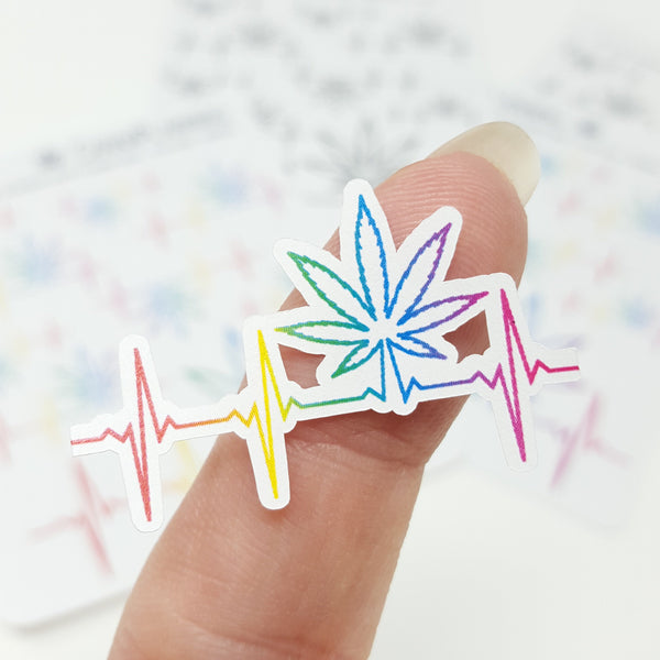 Marijuana Pot Leaf Heartbeat Stickers