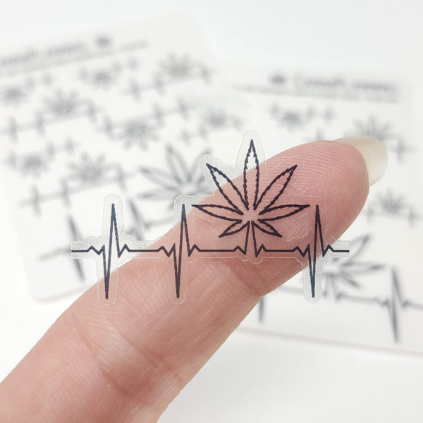 CLEAR Marijuana Pot Leaf Heartbeat Stickers