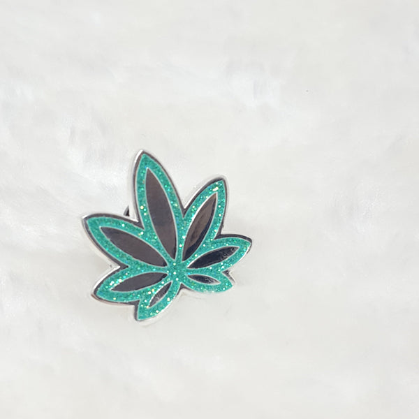 Teal Pot Leaf Glitter Enamel Pin, Lapel, Brooch, Holiday, Sparkling Pinback, 420 Art, Weed, Marijuana