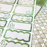 Dark Green Watercolor Marijuana Sticker Kit - CannaPlanning  - 2-page kit, 3+ page kit, Green, Horizontal Kits, Non-Holiday, Sticker Kit, Sticker Kit Classic Collection, Stickers, Vertical Kit, Watercolor, Weekly Kit