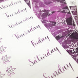 Cobweb Sparkle Purple VERTICAL Halloween Marijuana Weekly Sticker Kit - CannaPlanning  - 2-page kit, 3+ page kit, Halloweed/Halloween, Holiday, Purple, Seasonal, Sparkle, Sticker Kit, Sticker Kit Classic Collection, Stickers, Vertical Kit, Weekly Kit