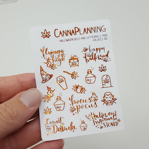 MINI Flying High ORANGE SPARKLE Foil Marijuana Halloween stickers