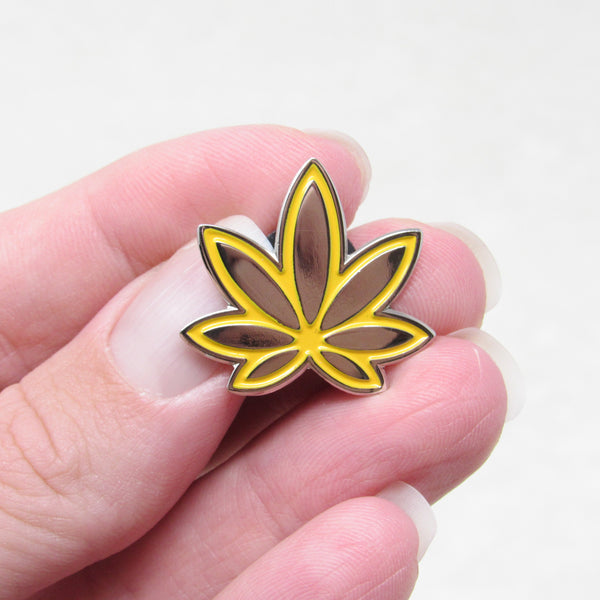 Sunrise Yellow Orange Marijuana Enamel Pin