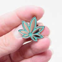 Teal Marijuana Enamel Pin