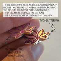 Pink Pot Leaf GLITTER Enamel Pin