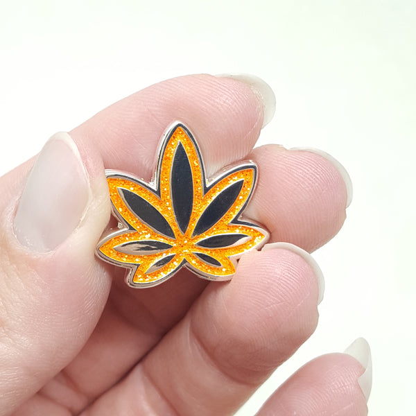 Volcano Orange Pot Leaf GLITTER Enamel Pin