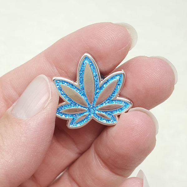 Blue Pot Leaf GLITTER Enamel Pin - CannaPlanning  - Gifts, Recent Restock