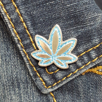 Blue Pot Leaf GLITTER Enamel Pin