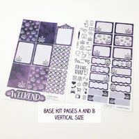 Dark Purple Watercolor Marijuana Sticker Kit - CannaPlanning  - 2-page kit, 3+ page kit, Horizontal Kits, Non-Holiday, Purple, Sticker Kit, Sticker Kit Classic Collection, Stickers, Vertical Kit, Watercolor, Weekly Kit