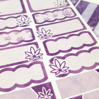 Bright Purple Watercolor Marijuana Sticker Kit - CannaPlanning  - 2-page kit, 3+ page kit, Horizontal Kits, Non-Holiday, Purple, Sticker Kit, Sticker Kit Classic Collection, Stickers, Vertical Kit, Watercolor, Weekly Kit
