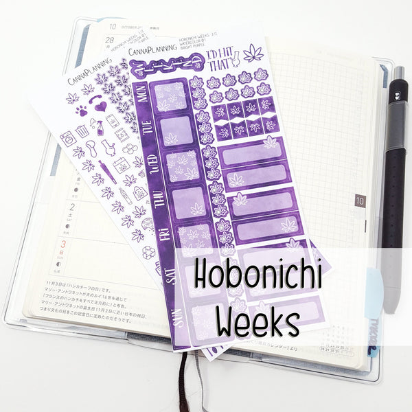 Bright Purple Hobonichi Weeks Watercolor Marijuana Sticker Kit - CannaPlanning  - 2-page kit, Hobonichi, Hobonichi Weeks, Mini, Non-Holiday, Purple, Sticker Kit, Stickers, Watercolor, Weekly Kit