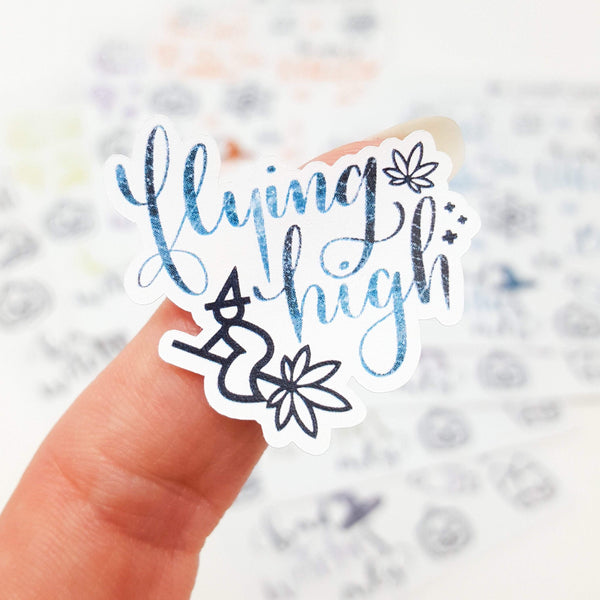 Flying High Marijuana Halloween stickers - CannaPlanning  - Deco, Halloweed/Halloween, Hand Lettering, Holiday, Seasonal, Sparkle, Stickers