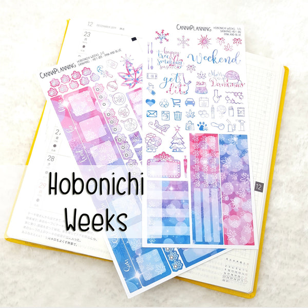 Pink + Blue Merryjuana CHRISTMAS Hobonichi Sticker Kit