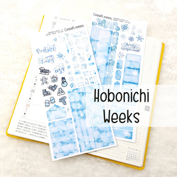 "Ice Teal ""Frosty AF"" Marijuana Winter Hobonichi Sticker Kit"