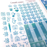 Aquamarine Sparkle Hobonichi Weeks Weekly Marijuana Sticker Kit - CannaPlanning  - 2-page kit, Blue, Hobonichi, Hobonichi Weeks, Mini, Non-Holiday, Sparkle, Sticker Kit, Stickers, Weekly Kit