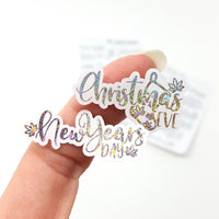 Silver Sparkle FOILED Weedy Holiday Marijuana Lettering stickers