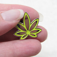Lime Green Marijuana Enamel Pin