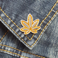 HalloWeed Orange Pot Leaf GLITTER Enamel Pin