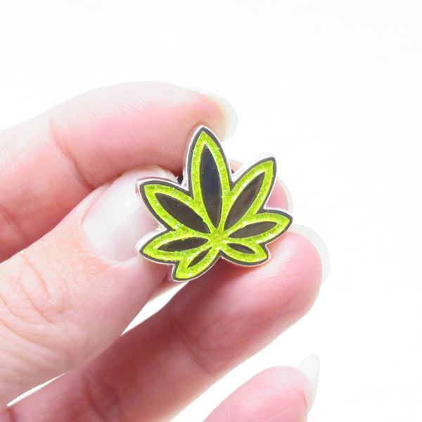 Lime Green Pot Leaf GLITTER Enamel Pin