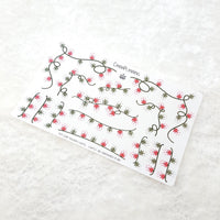 CLEAR Pot Leaf Holiday Lights Stickers (Red and Green)