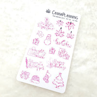 MINI Dankmas Christmas Deco and Hand-lettered stickers for HOBONICHI | Christmas scrap booking winter stickers holiday accessories