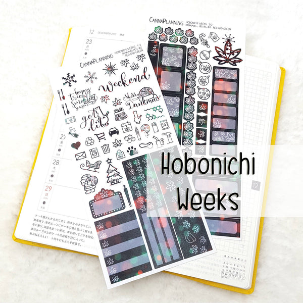 Red + Green Merryjuana CHRISTMAS Hobonichi Sticker Kit