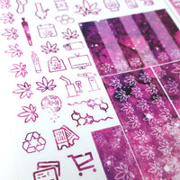 Weedy Resolutions Hobonichi Weeks Sticker Kit GALAXY PURPLE  (Previous year ready to ship) | New Years 420 holiday stickers