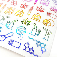MISFIT/ALMOST PERFECT: Clear Kaleidoscope Foiled Marijuana Icons Mix Sampler 1