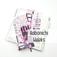 STONE N BONE Weedy Date Night Hobonichi Sticker Kit | Bokeh Pink
