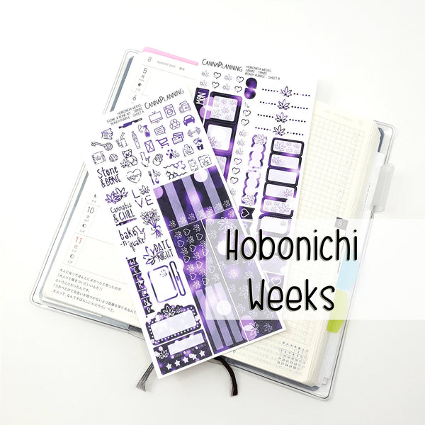 STONE N BONE Weedy Date Night Hobonichi Sticker Kit | Bokeh Purple