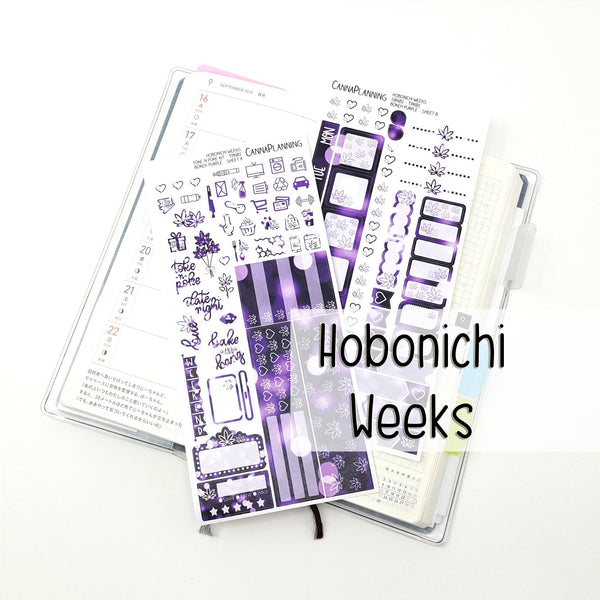 TOKE N POKE Weedy Date Night Hobonichi Sticker Kit | Bokeh Purple