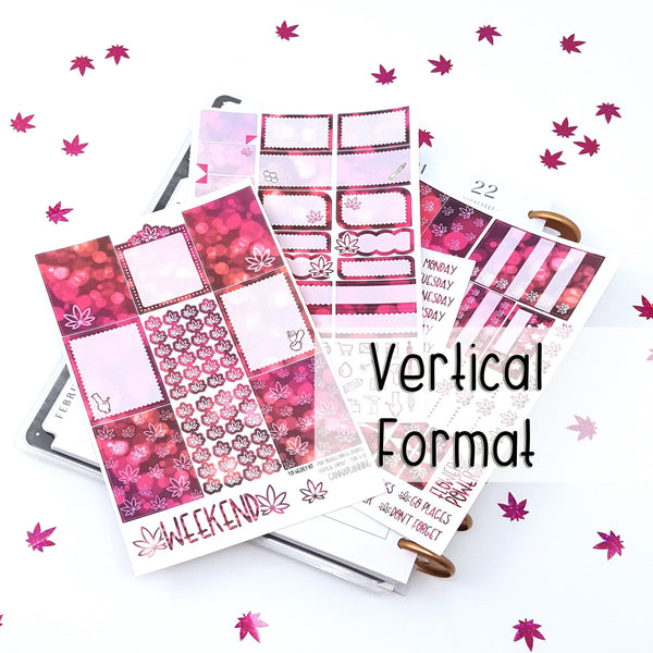 420 Weekly Sticker Kit - VERTICAL - Pink Orange Bokeh Sparkle